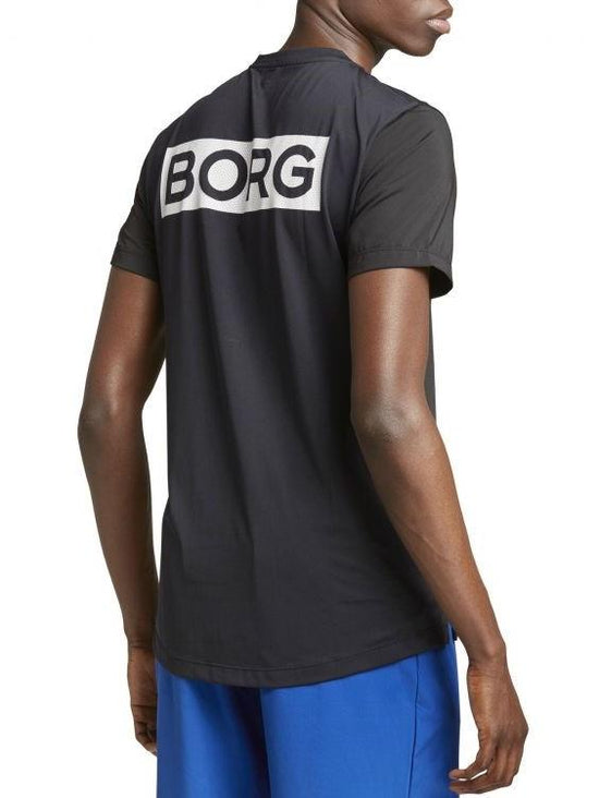 BJORN BORG Astor Mesh Cross-Training Tee Men's Short Sleeve Top T-Shirt Black - Activemen Clothing