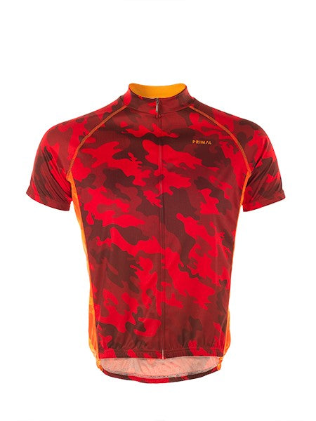 PRIMAL Ablaze Camo Lightweight Cycling Short Sleeve Top Men's Jersey Red Camouflage - Activemen Clothing