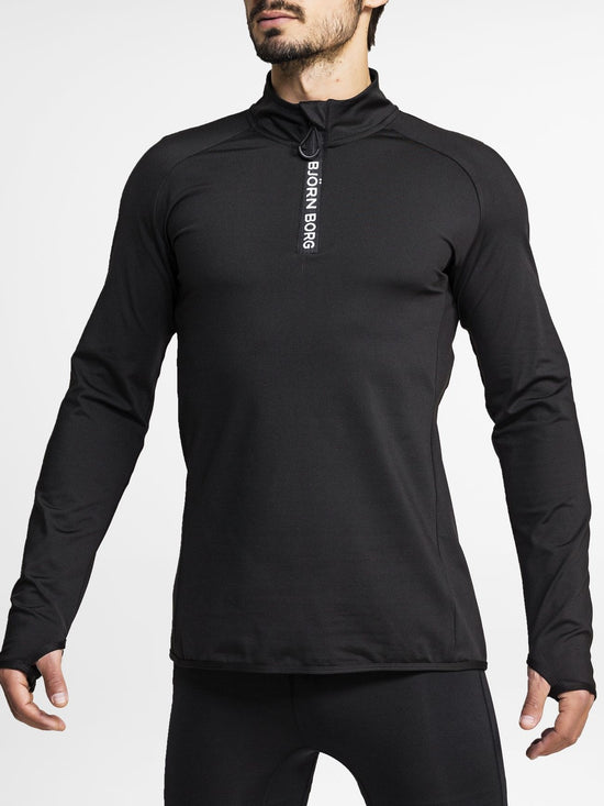BJORN BORG Half Zip Polo Alve Men's Long Sleeve Training Top Black - Activemen Clothing