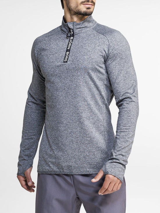 BJORN BORG Half Zip Polo Alve Men's Long Sleeve Training Top Grey - Activemen Clothing