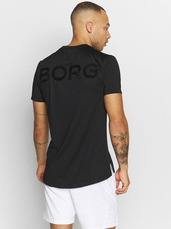 BJORN BORG Astor Mesh Workout Training Tee Men's Short Sleeve Top T-Shirt Black - Activemen Clothing