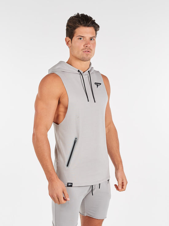 PHYSIQ APPAREL Agile Sleeveless Top Men's Training Hoodie Grey - Activemen Clothing