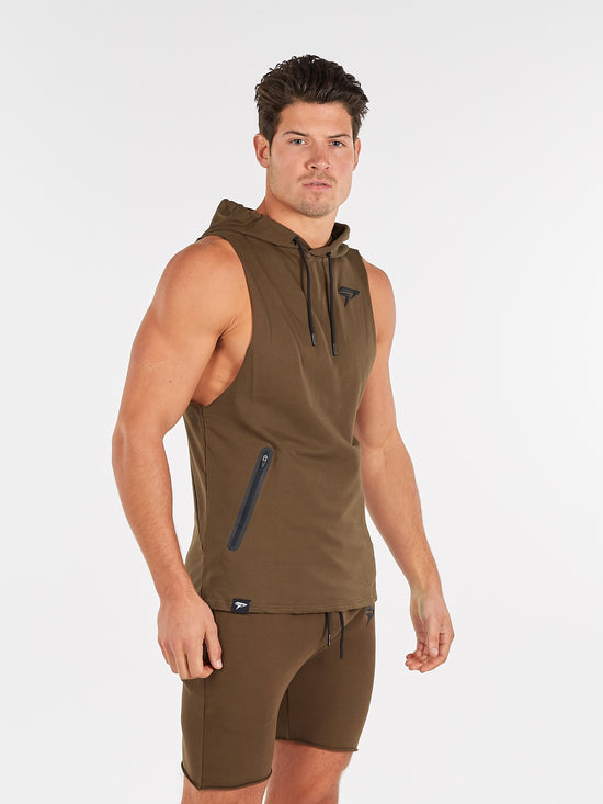 PHYSIQ APPAREL Agile Sleeveless Top Men's Training Hoodie Khaki - Activemen Clothing