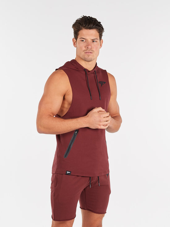 PHYSIQ APPAREL Agile Sleeveless Top Men's Training Hoodie Maroon - Activemen Clothing