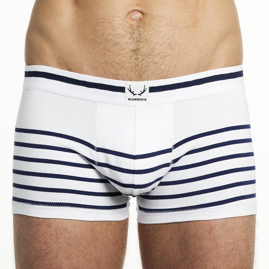 BLUEBUCK Nautical Trunks Men's Underwear White with Navy Stripes - Activemen Clothing