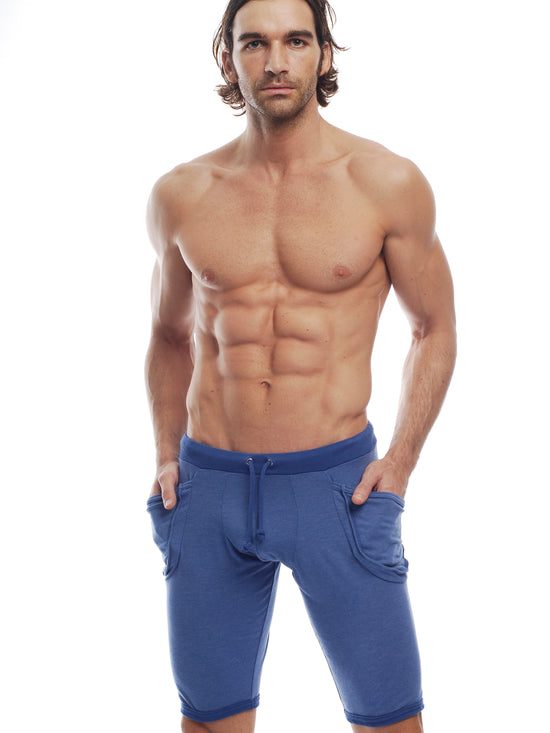 GO SOFTWEAR Vintage Wash Yoga Shorts For Men Cadet Blue - Activemen Clothing