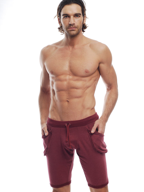 GO SOFTWEAR Vintage Wash Yoga Shorts For Men Cardinal Red - Activemen Clothing