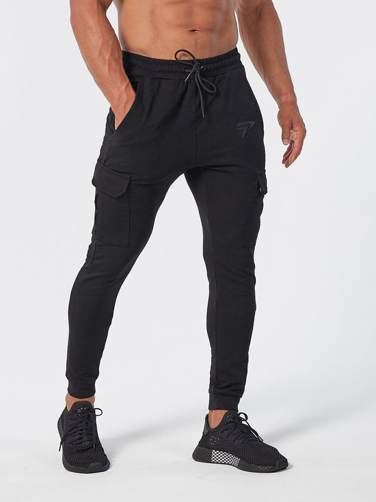 PHYSIQ APPAREL Cargo Black Bottoms Track Pants Joggers - Activemen Clothing