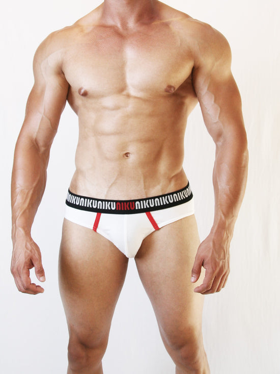 NIKU Two Tone Briefs Men's Underwear Underpants White and Red - Activemen Clothing