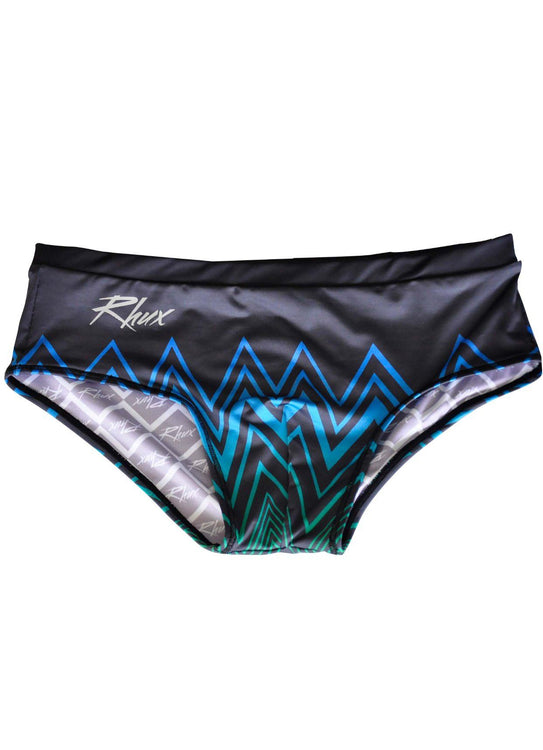 RHUX NAKA Sunga Brazilian Swimming Briefs Men's Trunks Swimwear Zigzag Design Navy Blue and Green - Activemen Clothing