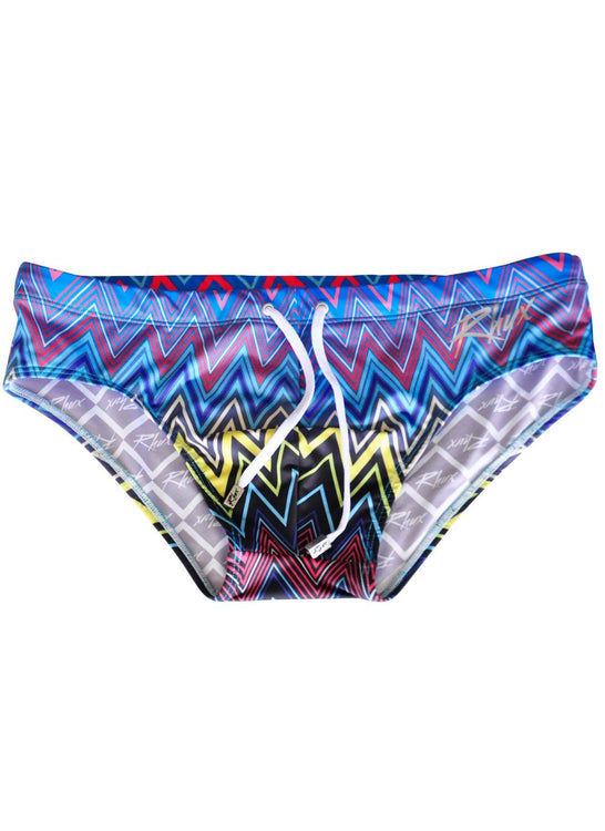 RHUX TEKI Swimming Briefs Men's Zigzag Chevron Multi-Coloured Designed Swimwear - Activemen Clothing