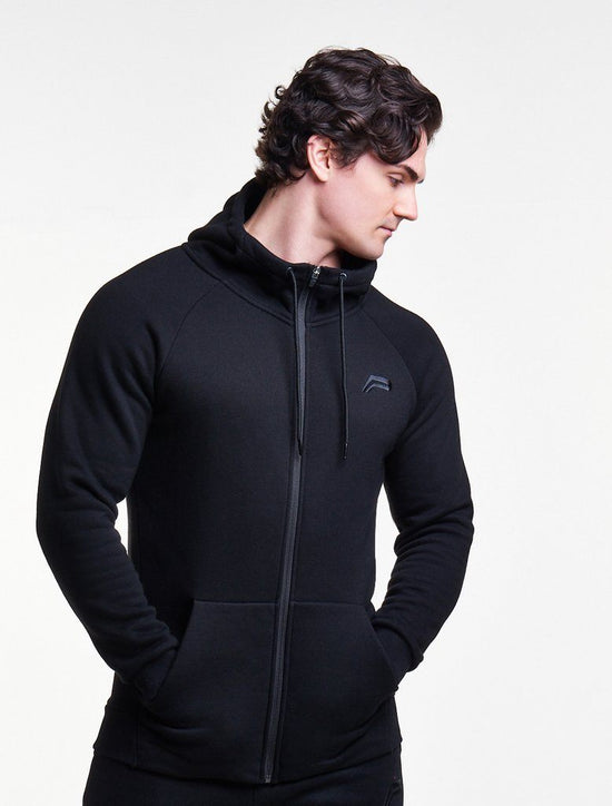 PURSUE FITNESS Icon Tapered Zipped Track Jacket Men's Hoodie Black - Activemen Clothing