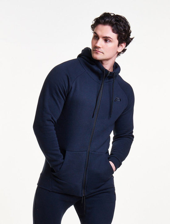 PURSUE FITNESS Icon Tapered Zipped Track Jacket Men's Hoodie Navy - Activemen Clothing