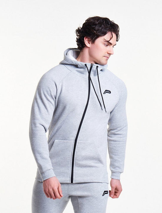 PURSUE FITNESS Icon Tapered Zipped Track Jacket Men's Hoodie Grey - Activemen Clothing