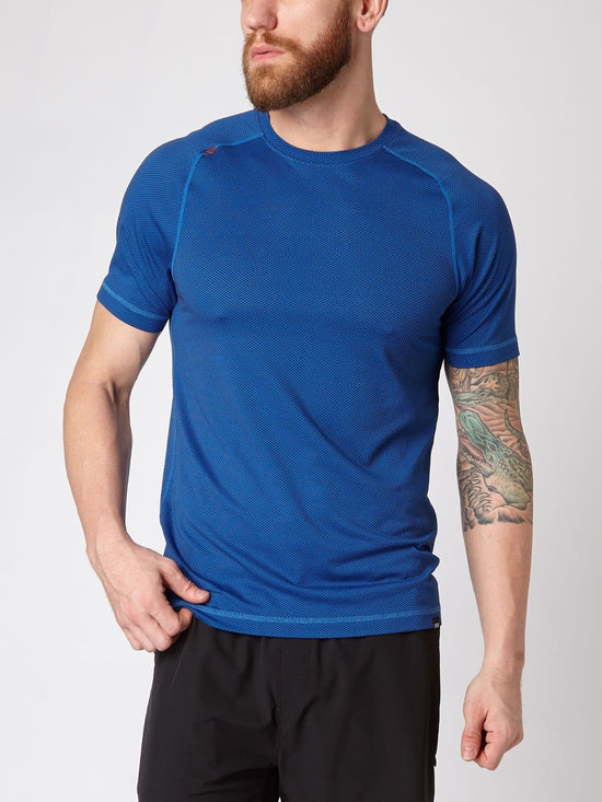 RHONE Glacier Delta Workout Training Tee Men's Cross-Training T-Shirt Blue - Activemen Clothing