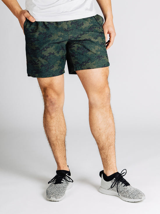 "RHONE Guru 7"" Unlined Yoga Shorts Men's Gym Shorts Green Camo - Activemen Clothing"