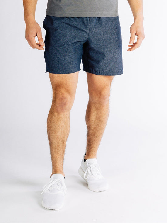"RHONE Guru 7"" Unlined Yoga Shorts Men's Gym Shorts Navy - Activemen Clothing"