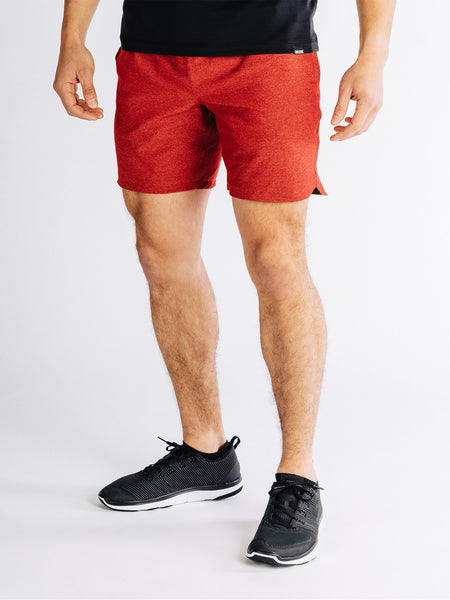 "RHONE Guru 7"" Unlined Yoga Shorts Men's Gym Shorts Red - Activemen Clothing"