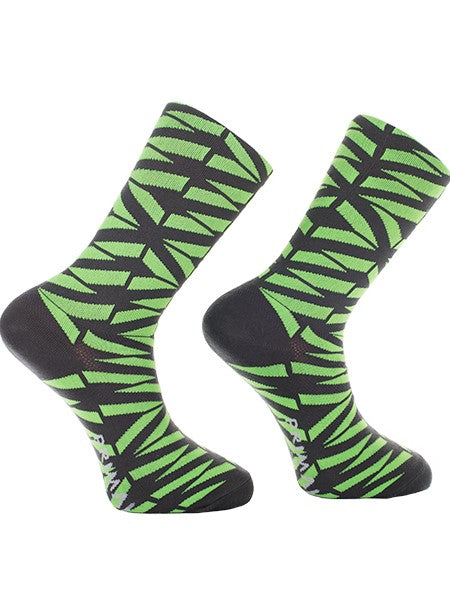 PRIMAL Cycling Socks Green Black striped Geometric design - Activemen Clothing