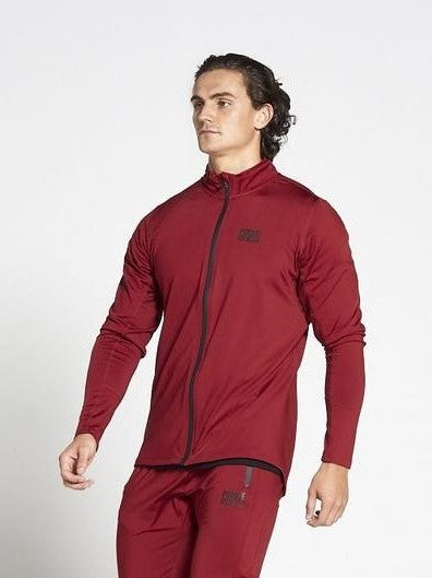 PURSUE FITNESS Lightweight Tapered Zipped Top Men's Track Jacket Maroon - Activemen Clothing