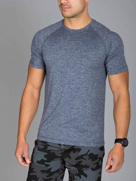 RHONE Reign Workout Training Tee Men's Short Sleeve T-Shirt Midnight Heather Grey / Blue - Activemen Clothing