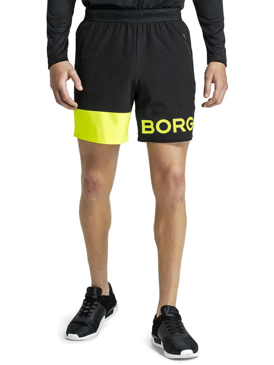 BJORN BORG Archer Long Lightweight Gym Shorts with Pockets Black Yellow - Activemen Clothing