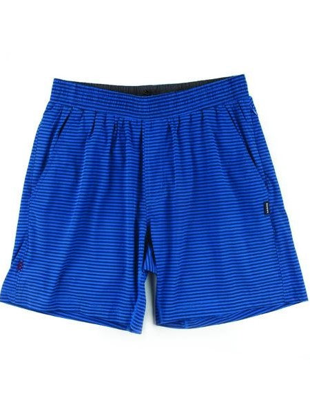 "RHONE Mako 7"" Unlined Gym Shorts Men's Zipped Pocket Shorts Blue Stripes - Activemen Clothing"