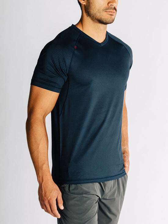 RHONE Sentry Cross-Training Workout V-Neck Tee Men's Short Sleeve T-Shirt Navy - Activemen Clothing