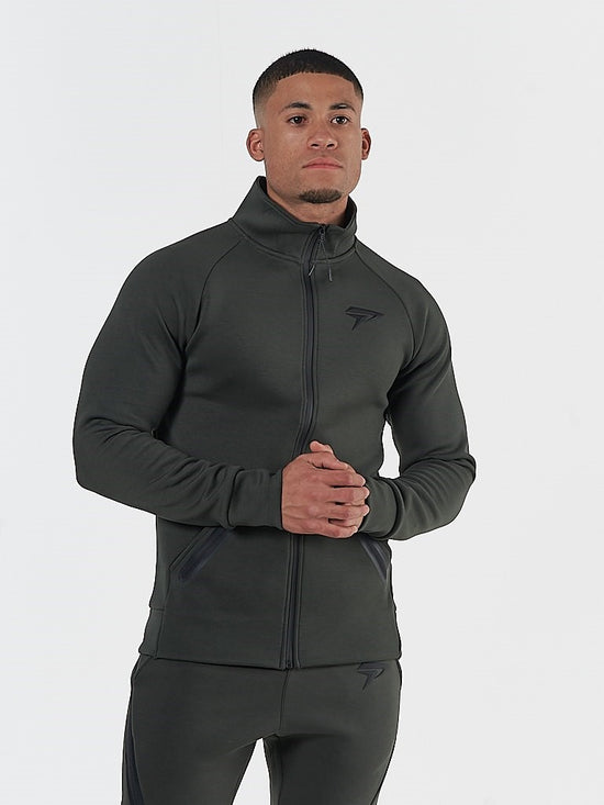 PHYSIQ APPAREL Storm Track Jacket Men's Zipped Training Top Olive Green - Activemen Clothing