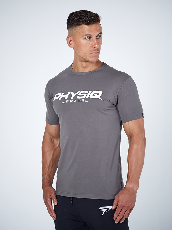 PHYSIQ APPAREL Supreme Short Sleeve Top Men's Tee T-Shirt Charcoal Grey - Activemen Clothing