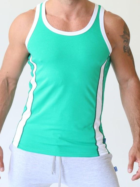 NIKU Tank Top Men's Vest Sleeveless Top Green with White Stripes - Activemen Clothing