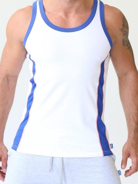 NIKU Tank Top Men's Vest Sleeveless Top White with Blue Stripes - Activemen Clothing