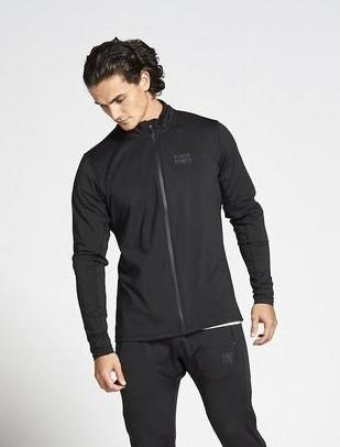 PURSUE FITNESS Lightweight Tapered Zipped Top Men's Track Jacket Black - Activemen Clothing