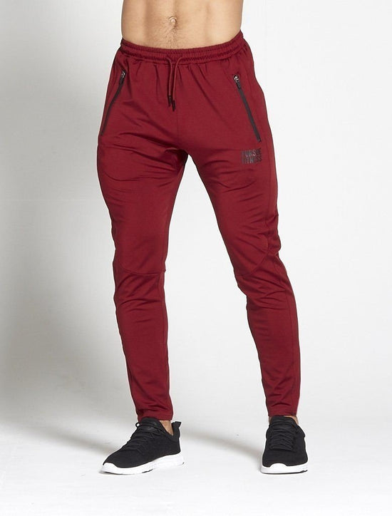 PURSUE FITNESS Lightweight Tapered Joggers Men's Track Pants Bottoms Maroon - Activemen Clothing