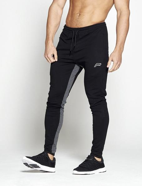 PURSUE FITNESS Pro-Fit Tapered Joggers Track Pants Black / Grey - Activemen Clothing