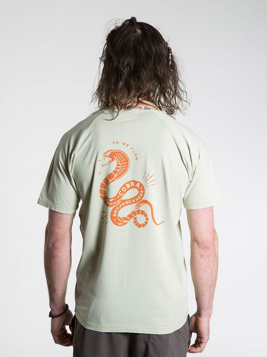 SO WE FLOW... soweflow... Short Sleeve Tee Men's Yoga Top Cobra T-Shirt Light Green - Activemen Clothing
