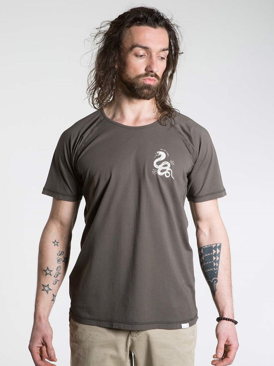 SO WE FLOW... soweflow... Short Sleeve Tee Men's Yoga Top Cobra T-Shirt Grit Brown - Activemen Clothing