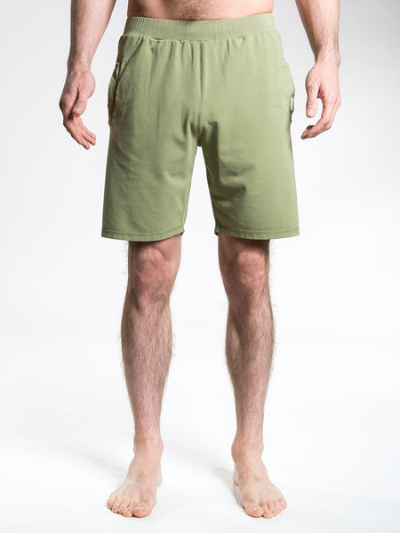 SO WE FLOW... soweflow... Men's Yoga Shorts Cotton Stretchy Shorts Olive Green