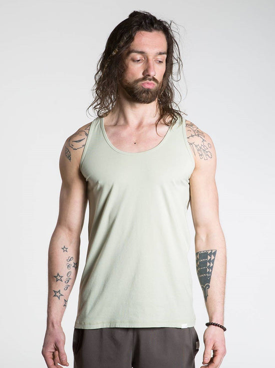 SO WE FLOW... soweflow... Sleeveless Top Men's Yoga Vest Tank Top Pale Green - Activemen Clothing