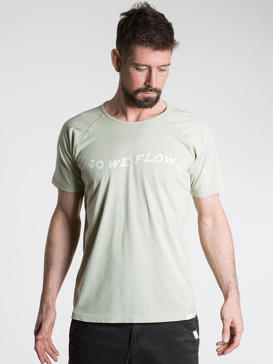 SO WE FLOW... soweflow... Short Sleeve Tee Men's Yoga Top Logo T-Shirt Pale Green - Activemen Clothing