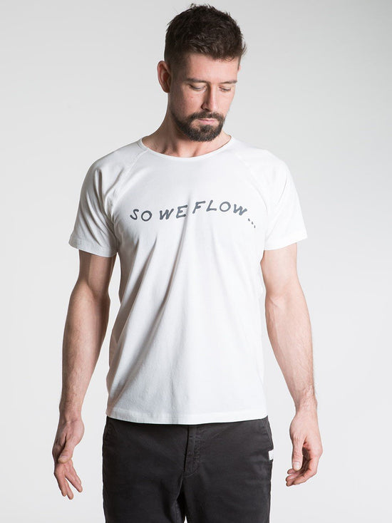 SO WE FLOW... soweflow... Short Sleeve Tee Men's Yoga Top Logo T-Shirt White Natural - Activemen Clothing