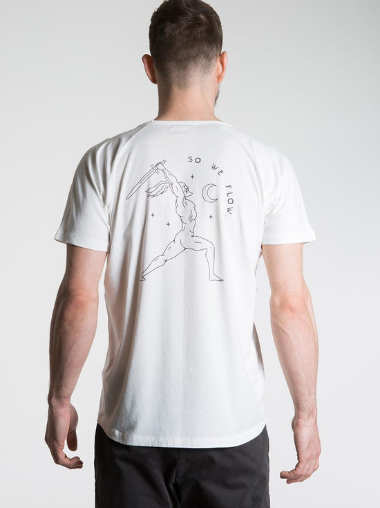 SO WE FLOW... soweflow... Short Sleeve Top Men's Yoga Tee Warrior T-Shirt White - Activemen Clothing