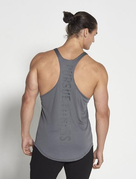 PURSUE FITNESS Essential Stringer Sleeveless Top Men's Workout Vest Grey - Activemen Clothing