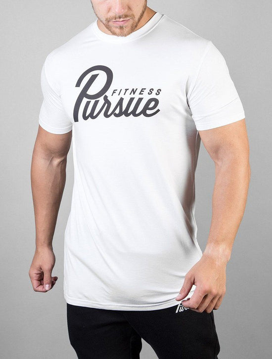 PURSUE FITNESS White Classic Logo T-Shirt - Activemen Clothing