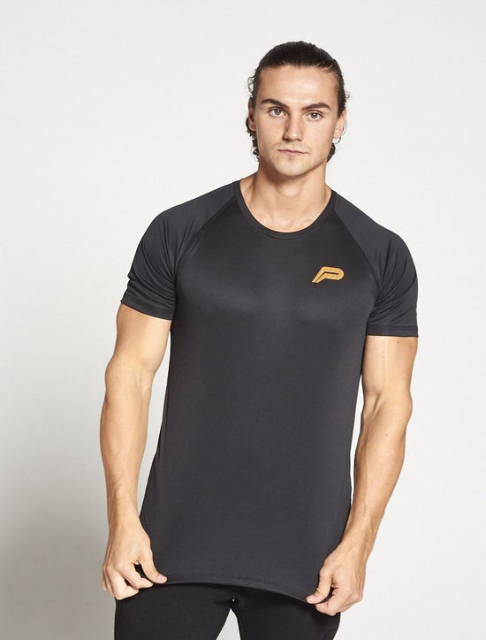 PURSUE FITNESS Essential Gym BreathEasy Short Sleeve Top Men's Tee T-Shirt Black - Activemen Clothing