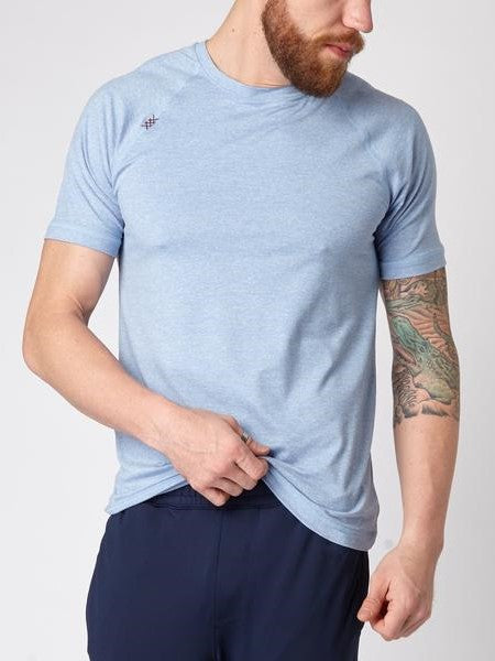 RHONE Reign Workout Training Tee Men's Short Sleeve T-Shirt Light Blue - Activemen Clothing