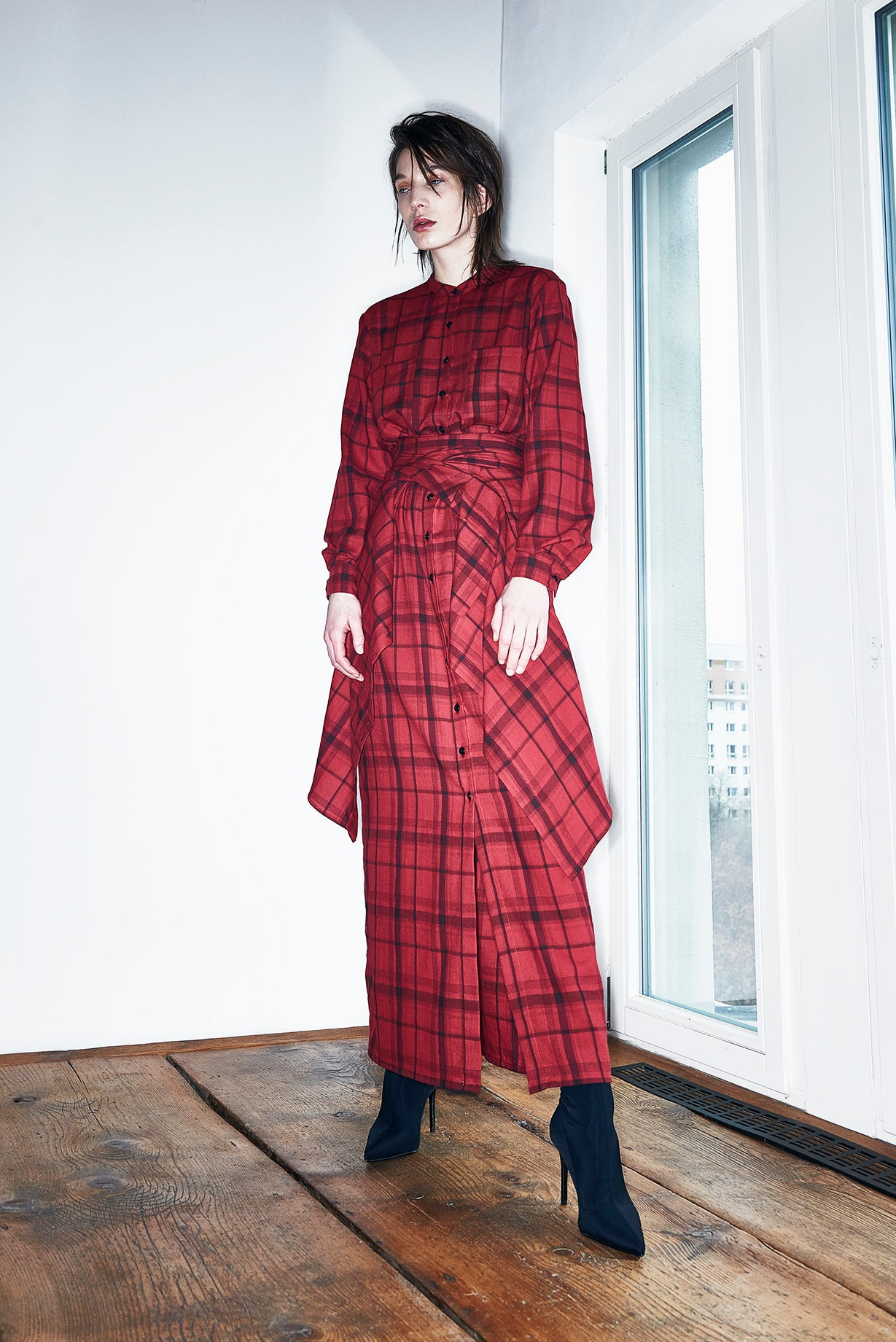 Ade Velkon - Long Plaid Blouse Dress