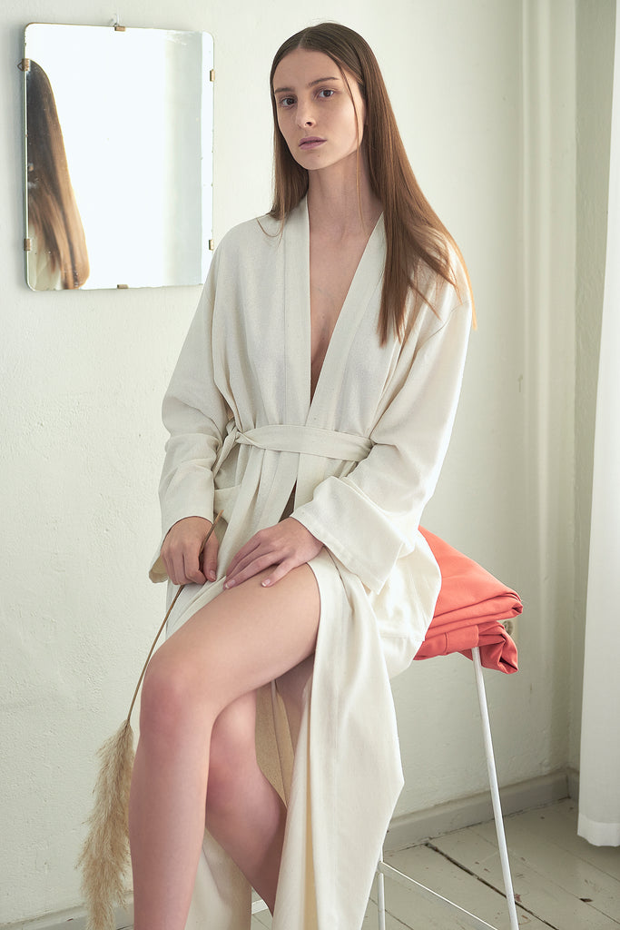Raw Silk Long Pocket Robe - Maria Morgana