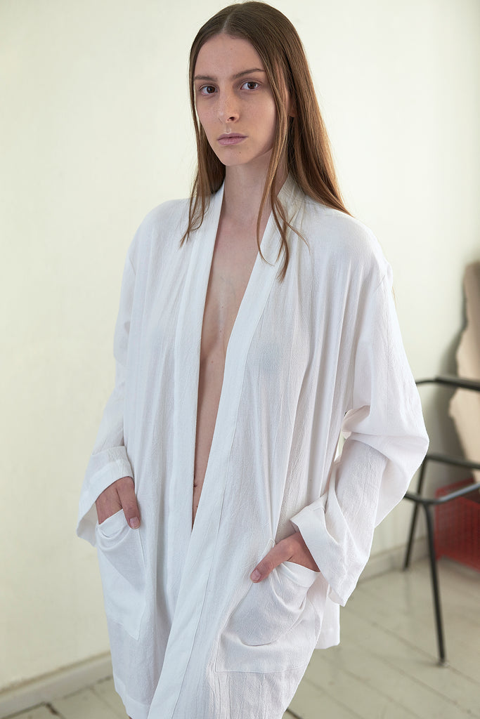 Cotton Short Pocket Robe - Maria Morgana