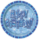 Blue Happy Birthday Plates